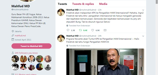 Rencana Pengacara Setya Novanto Ditertawai Mahfud MD