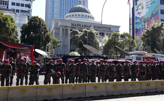 Sidang Perdana Sengketa Pemilu 2019, Gedung MK Dijaga Ketat TNI-Polri
