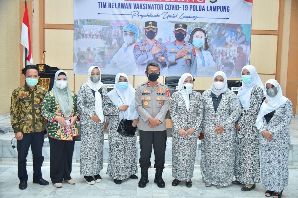 Polda Lampung Launching 108 Tim Relawan Vaksinator Covid-19