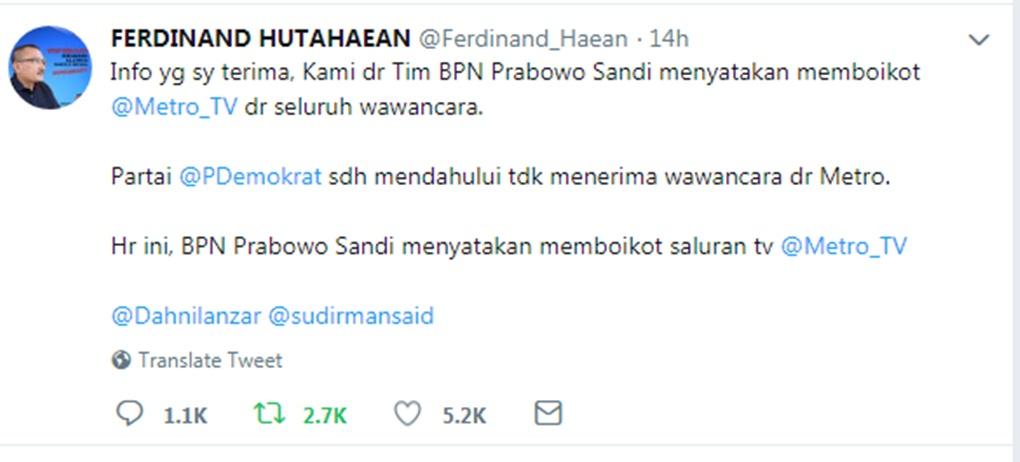 Badan Pemenangan Nasional Prabowo-Sandi Boikot Metro TV