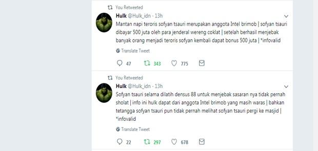 Wow! Akun Hulk Tuduh Sofyan Tsauri Dibayar 500 Juta Untuk Ciptakan Teroris