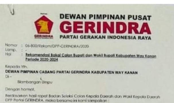 DPP Gerindra Berikan Rekomendasi Pasangan Arjuna ( Juprius dan Rina Marlina )