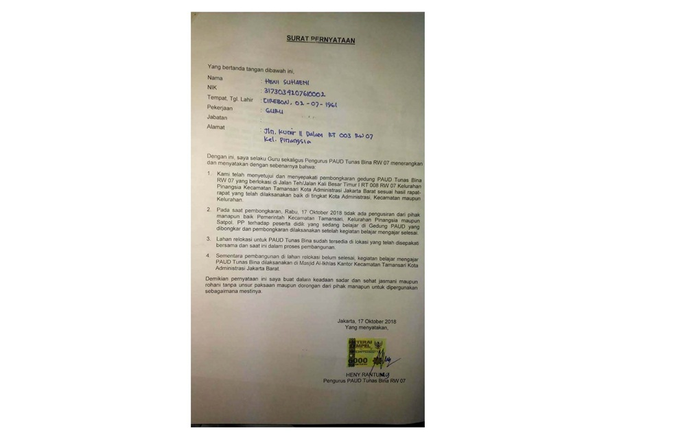 Pembongkaran PAUD Diduga Kasus Settingan Untuk Jatuhkan Kredibilitas Anies