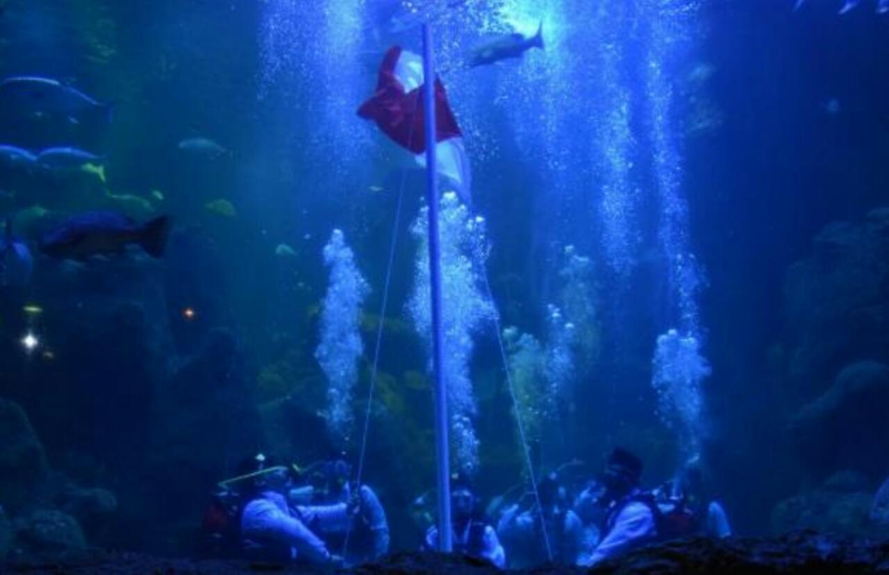 Merah Putih Kembali Dikibarkan Di Aquarium Ancol