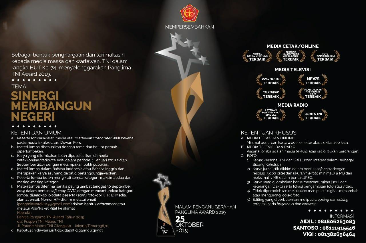 """Lomba Karya Jurnalistik  """"Panglima TNI Award 2019"""""""