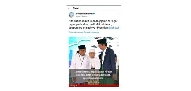 Salah Kutip Jokowi Admin Twitter Setkab dicopot