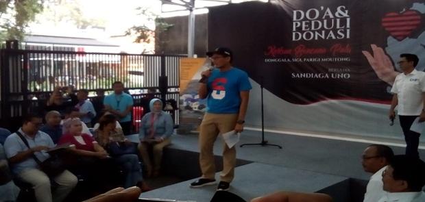 Lelang Kaos dan Topi Untuk Korban Gempa Sulteng Seknas Prabowo-Sandi Himpun Rp 500 Juta
