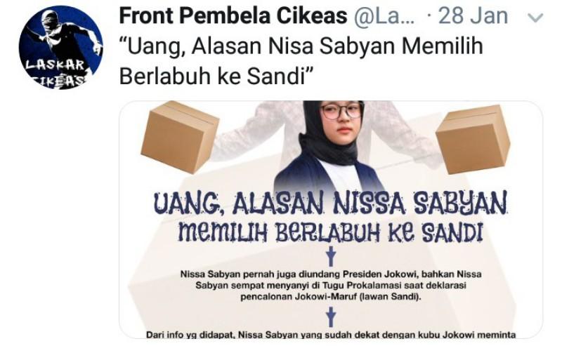 Dituding Fitnah Nissa Sabyan, Ribuan Warganet RAS Akun @LaskarCikeas