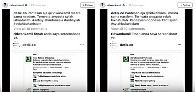 Akun instagram @detik.co Akan dilaporkan Ridwan Kamil Terkait Syiah