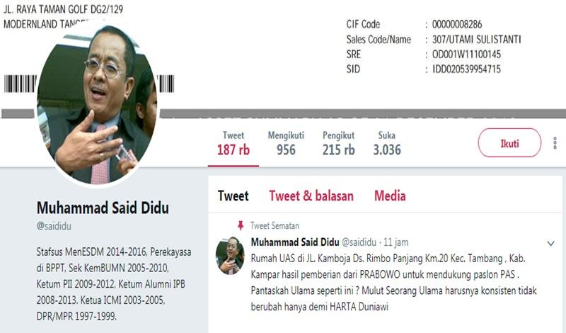Akun Said Didu Diretas, Digunakan untuk Fitnah UAS dan Prabowo