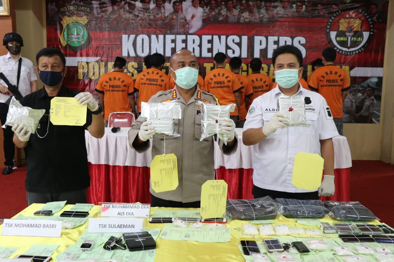 Hasil Pengembangan, Polrestro Tangerang Kota Amankan 6 Kg Sabu dari 12 Tersangka