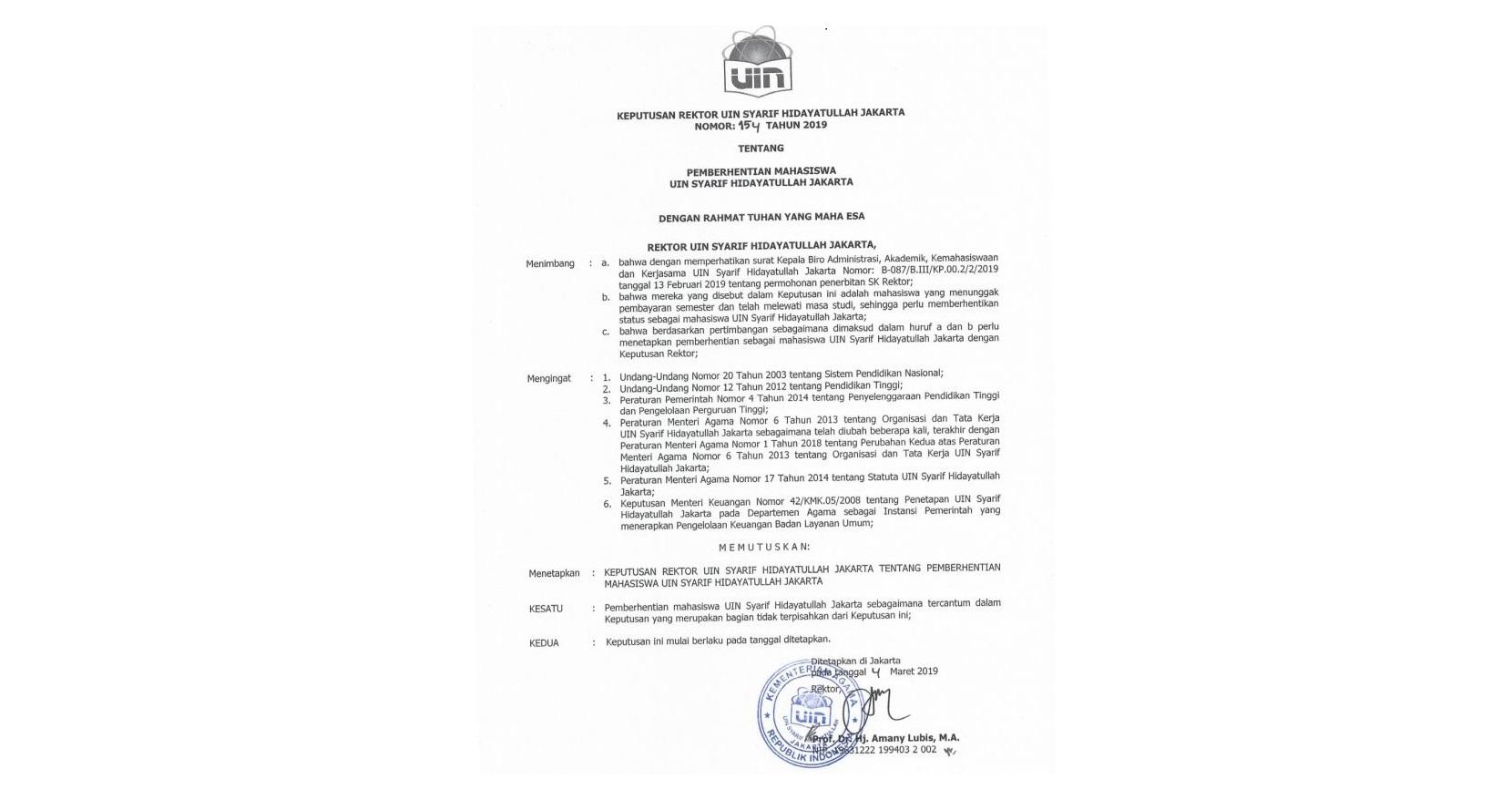 SK Terlanjur Tersebar, Warek UIN Jakarta: Tidak Prosedural