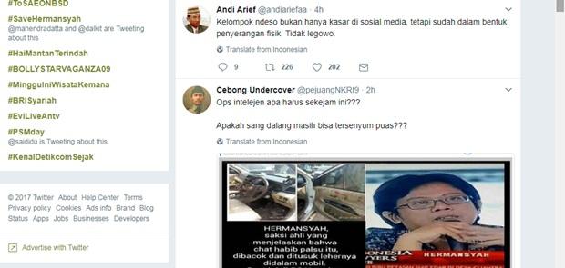 Netizen Duga Penyerangan Hermansyah Hasil Operasi Intelijen