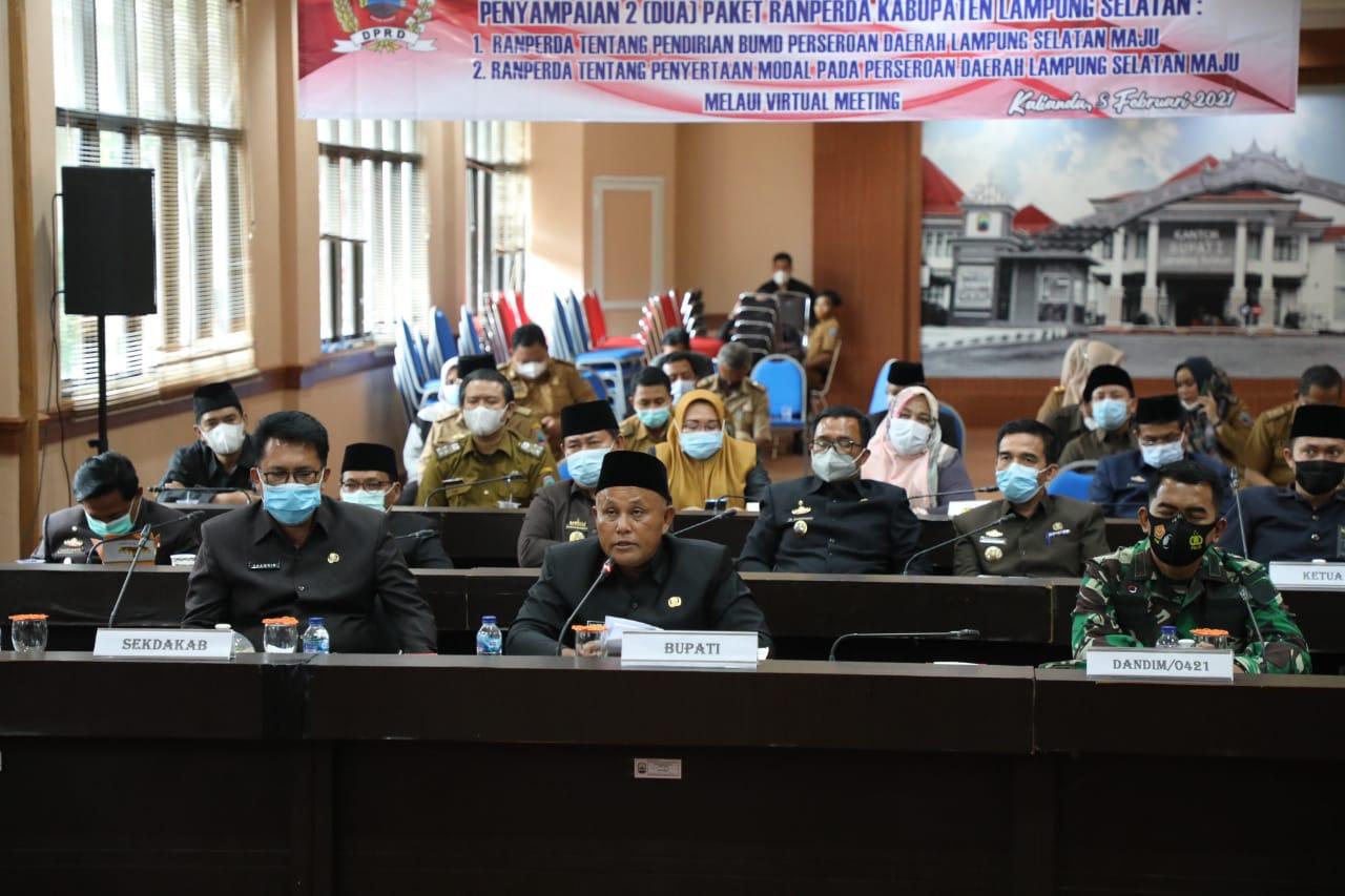 DPRD Lampung Selatan Gelar Sidang Perdana di 2021, Nanang Sampaikan Dua Paket Raperda tentang BUMD