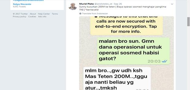 Sunny Dituding Gelontorkan Rp. 200 Miliar untuk Biayai Pembullyan Panglima TNI