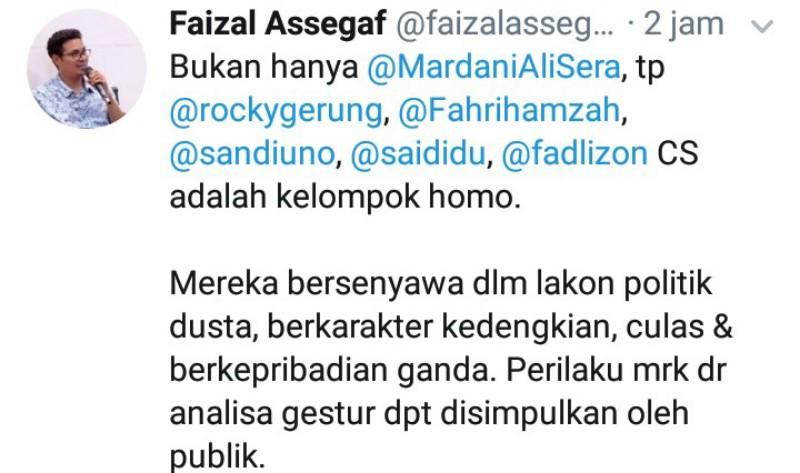 Faizal Assegaf Tuding Sandi, Mardani, Rocky, Fadli dan Fahri Sebagai Homo