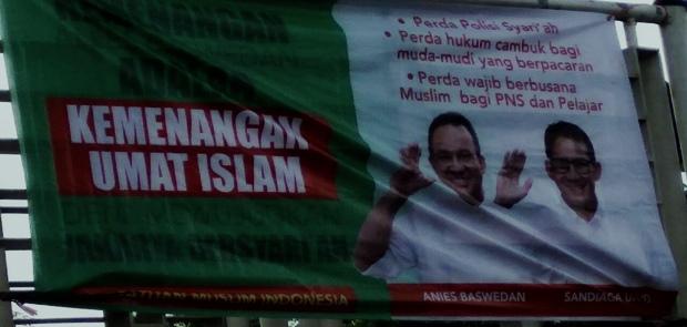 Tim Advokasi Anies-Sandie Minta Usut Spanduk Jakarta Bersyariah
