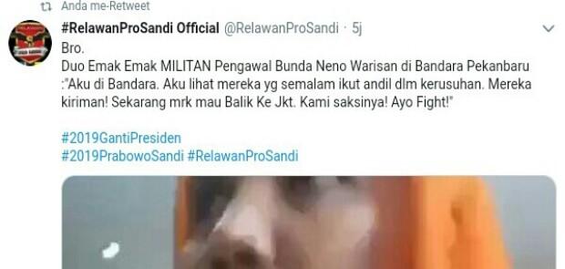 Massa Penghadang Neno Warisman Diduga Kuat Dikirim dari Jakarta